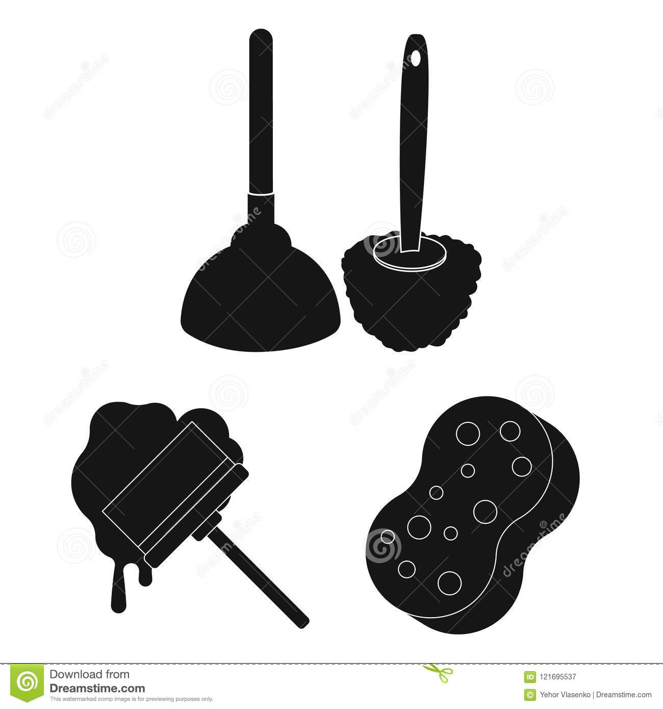 Cleaning And Maid Black Icons In Set Collection For Design