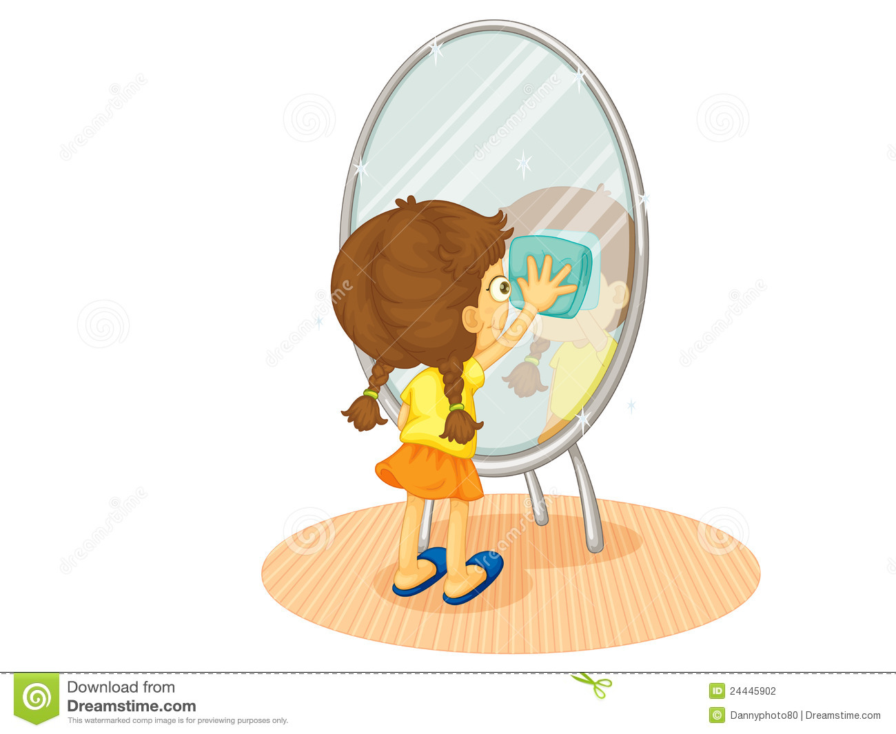 Cleaning Mirror Stock Vector Illustration Of White Person - How to clean bathroom mirror