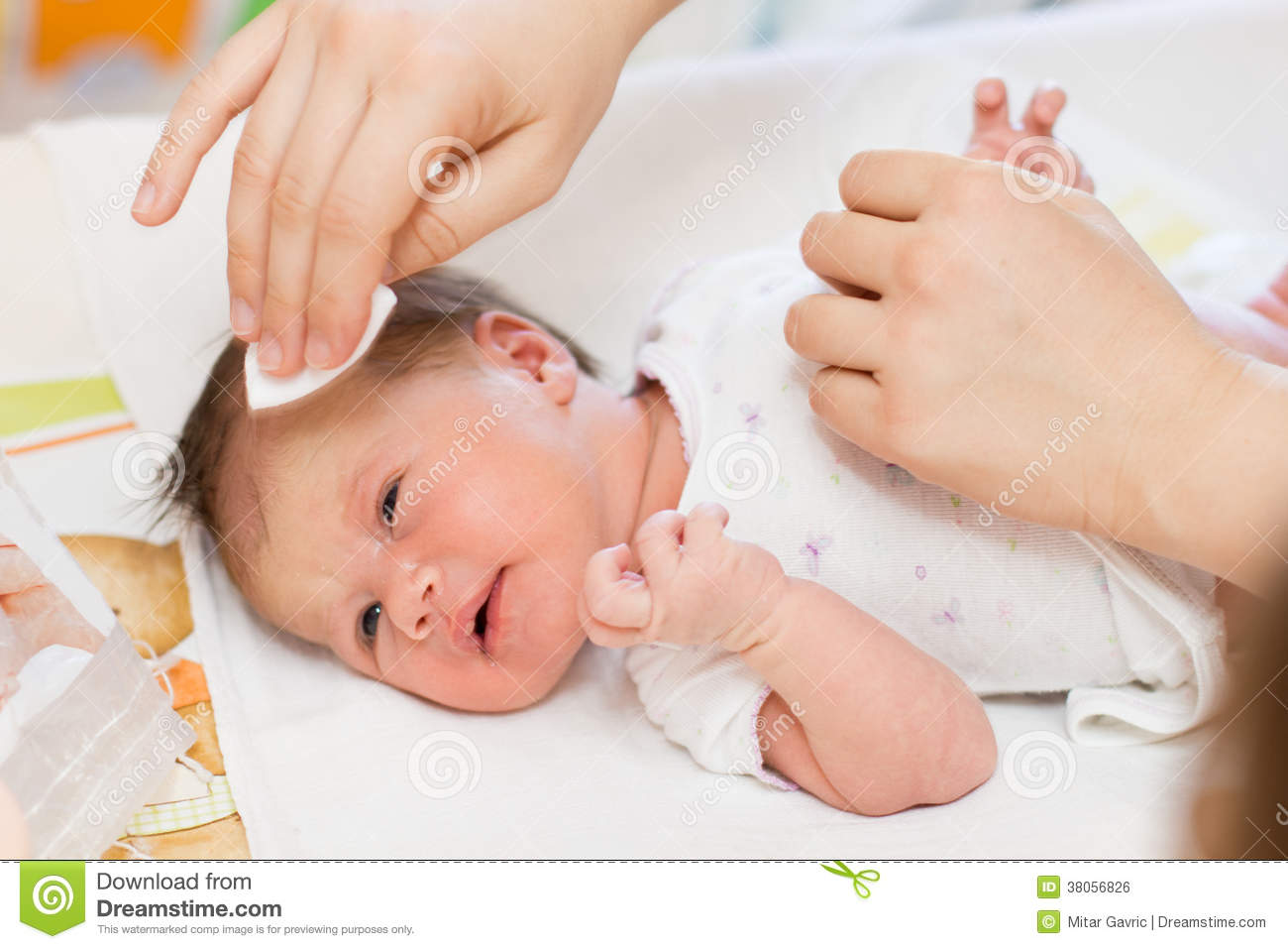 Cleaning Newborn Baby Skin Stock Photo Image Of Childhood