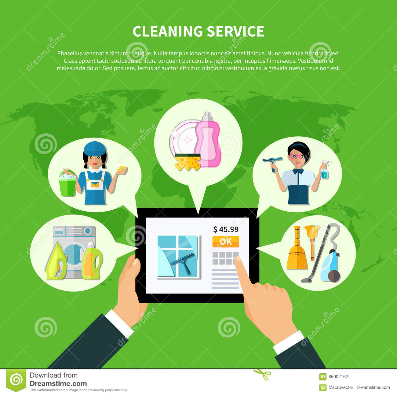 Cleaning Online Application Concept Stock Vector