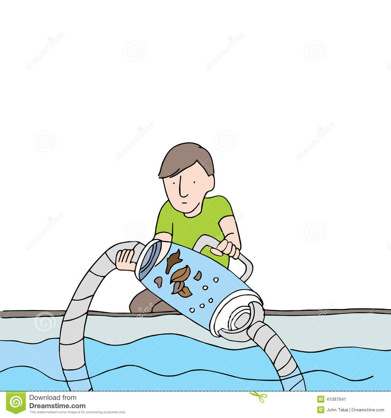 Pool Cleaning Clip Art : Cleaning pool filter vacuum stock vector image