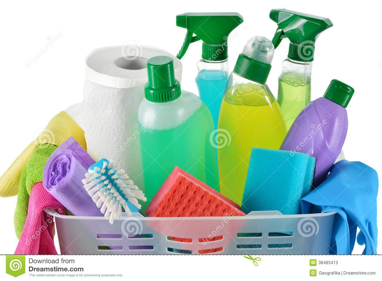 Cleaning Products And Supplies In A Basket Stock Photos