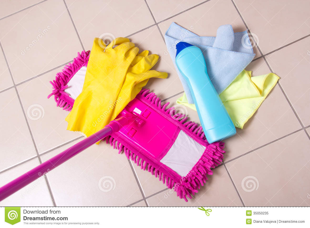 Cleaning Products On The Tile Floor Stock Image Image Of Mopping - Bathroom cleaning materials