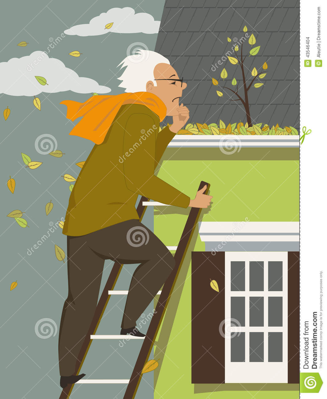 Cleaning A Rain Gutter Stock Vector Image 43546404