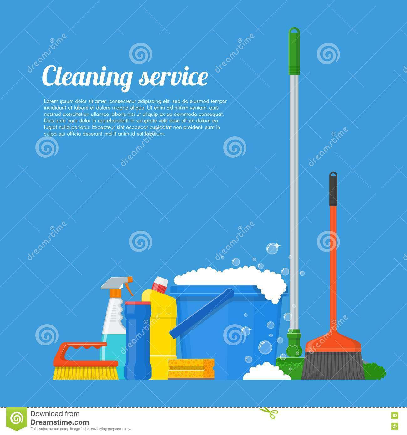 cleaning service company concept vector illustration house tools cleaning service company concept vector illustration house tools poster design in flat style