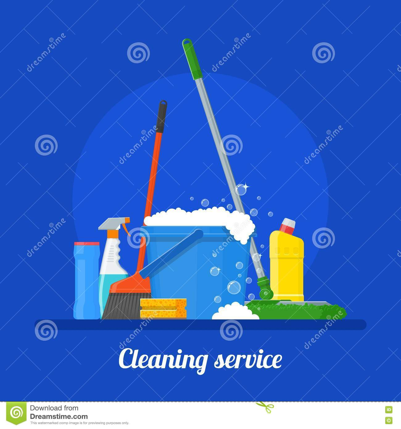 Poster design tools - Cleaning Service Company Concept Vector Illustration House Tools Poster Design In Flat Style Stock Vector