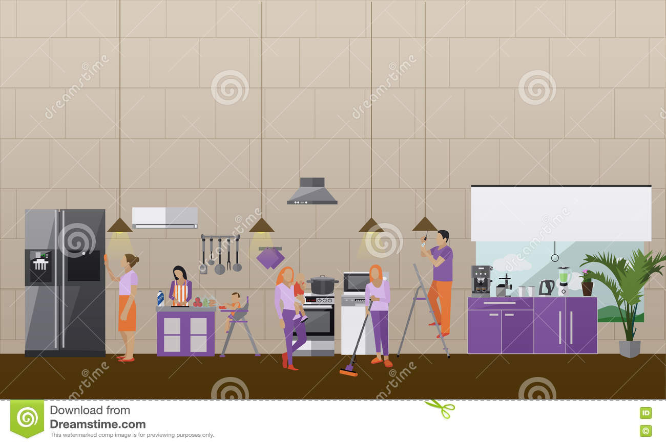 Cleaning Service Concept Vector Banner People Clean House Apartment Kitchen Interior