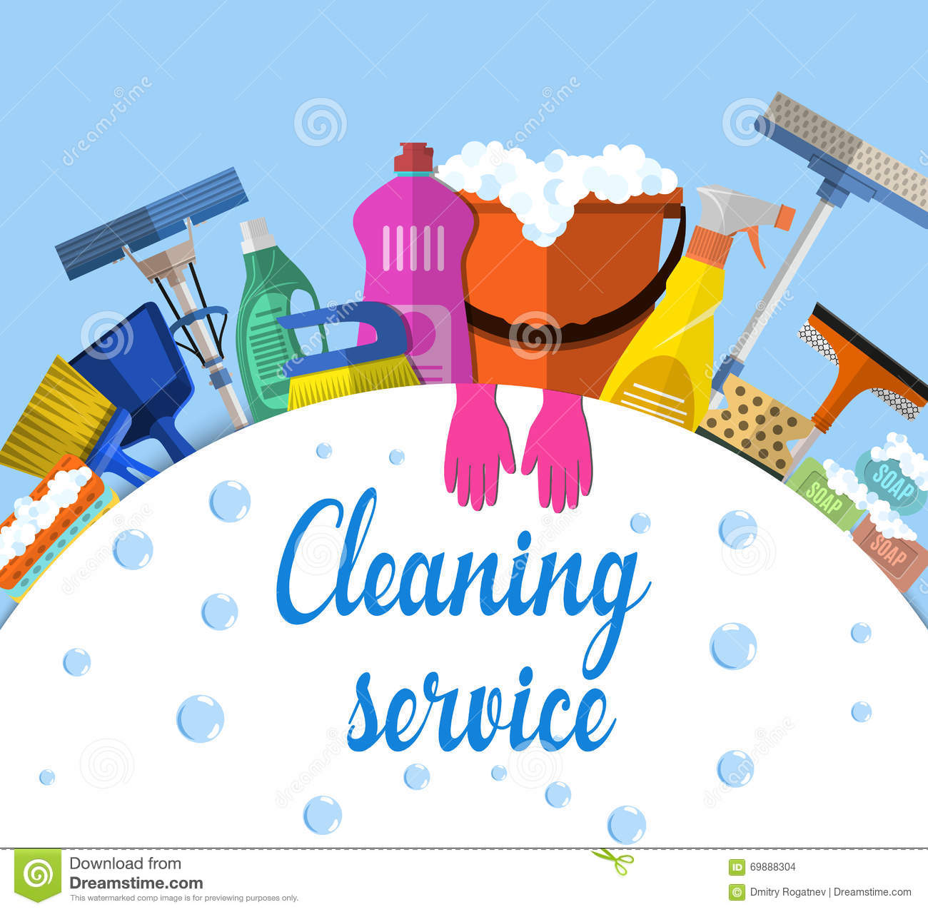 Cleaning Service Flat Illustration Vector Illustration