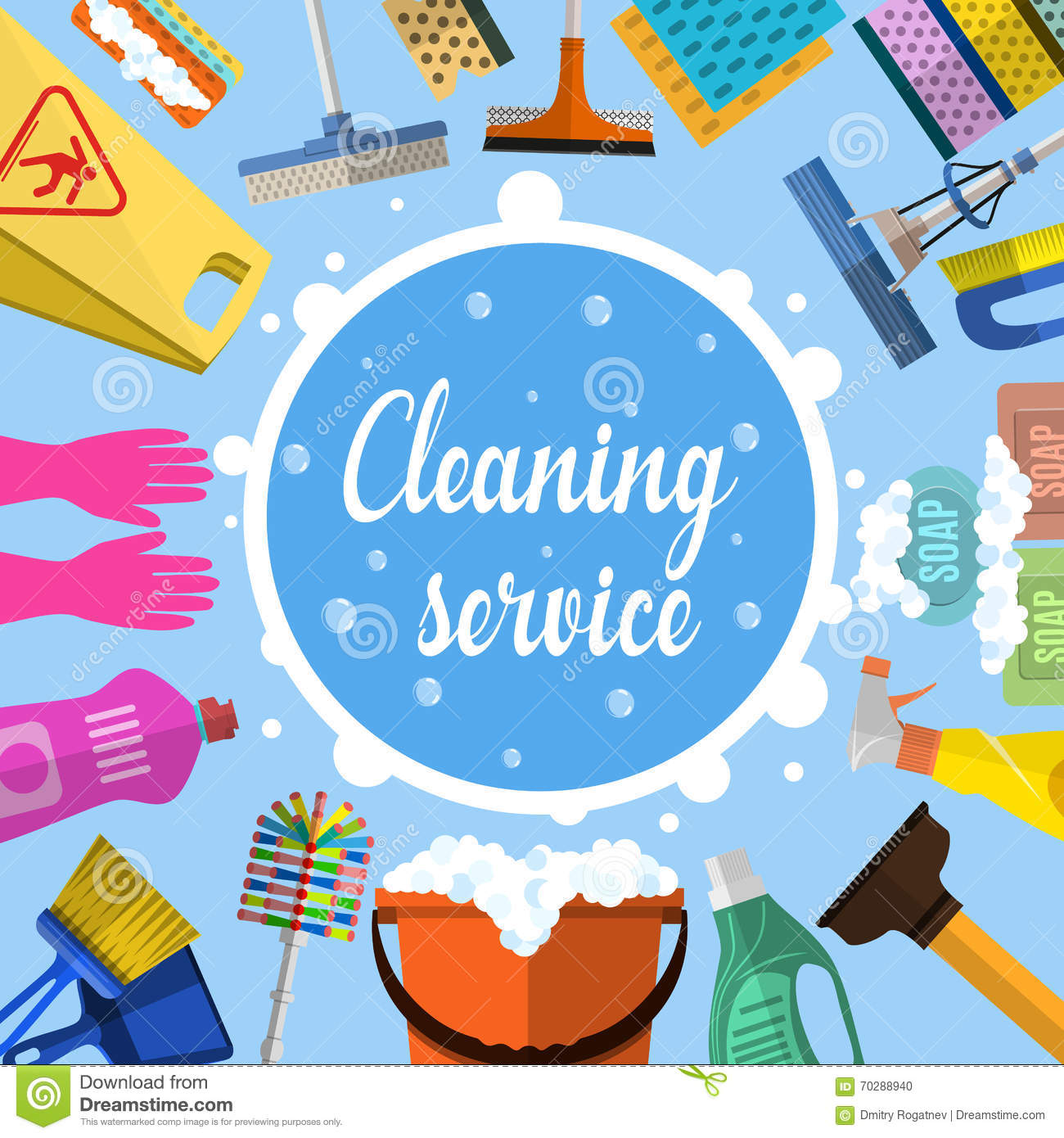 Cleaning Service Flat Illustration Stock Vector ...