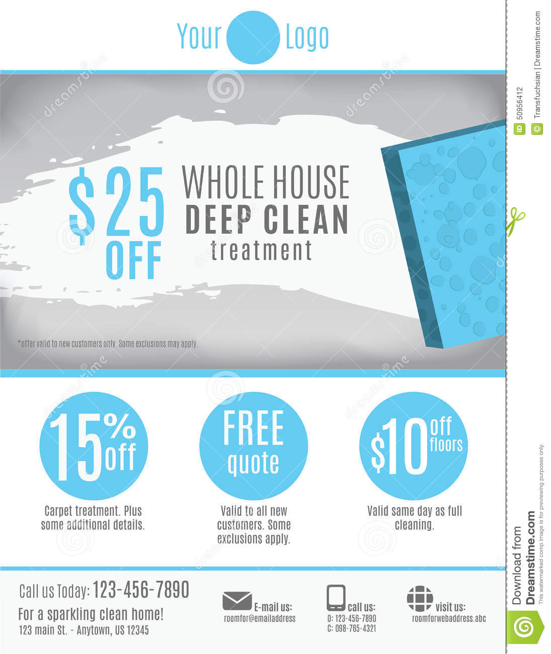 Cleaning Service Flyer Template Advertisement Vector Image – House Cleaning Flyer Template