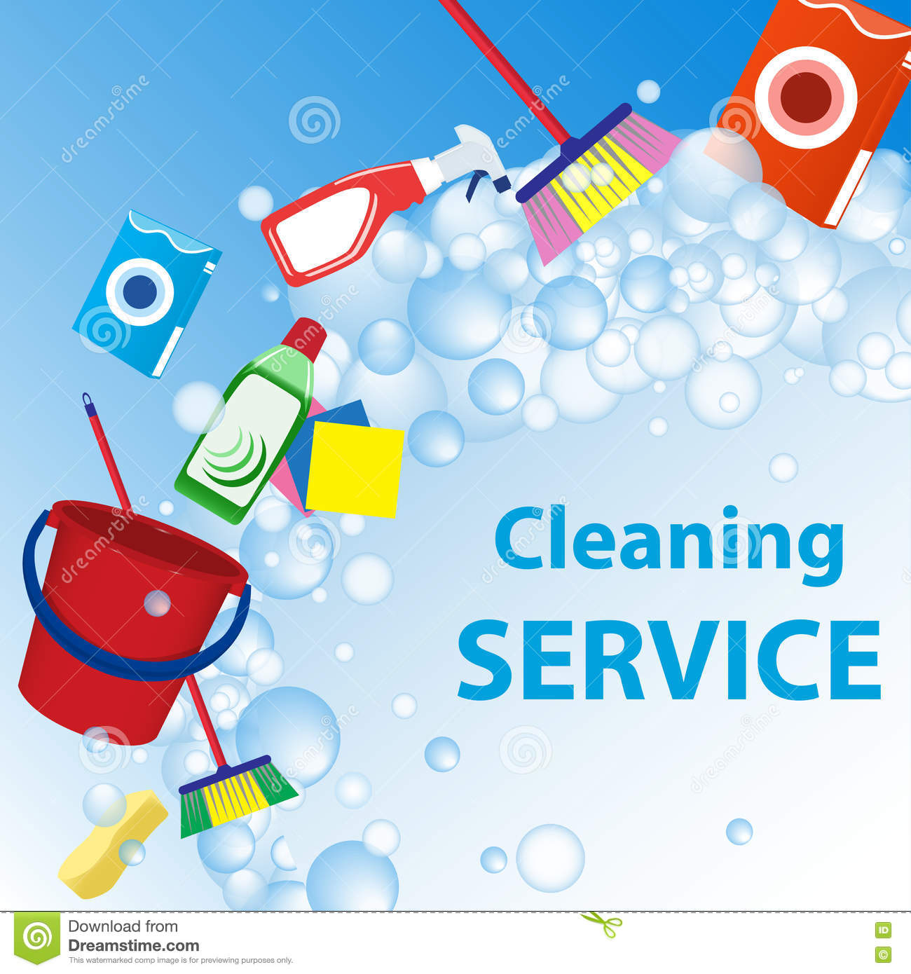 cleaning service illustration poster template for house cleanin