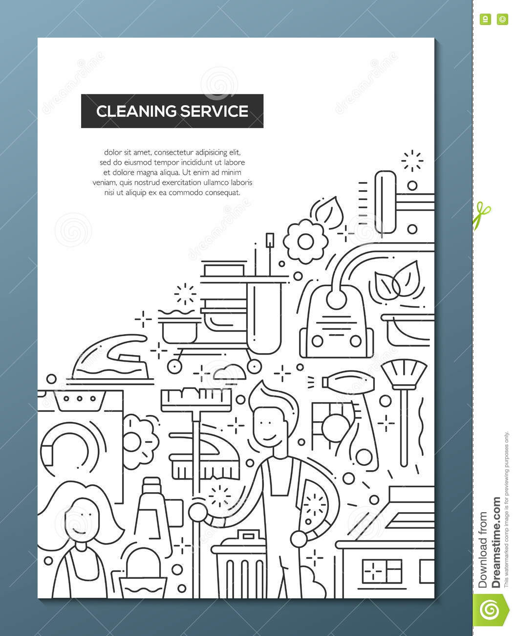 cleaning service brochure templates - cleaning service line design brochure poster template a4