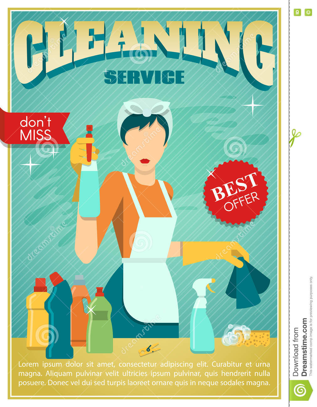 Cleaning Service Poster Stock Vector Image 71641500