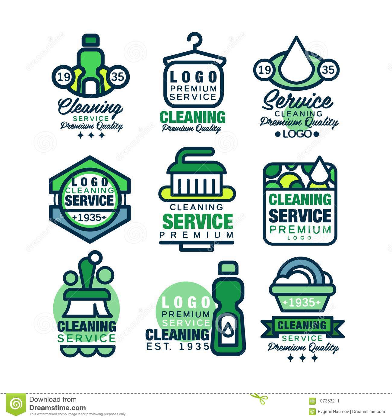 Cleaning Service Premium Quality Logo Template Set, Home Stock ...