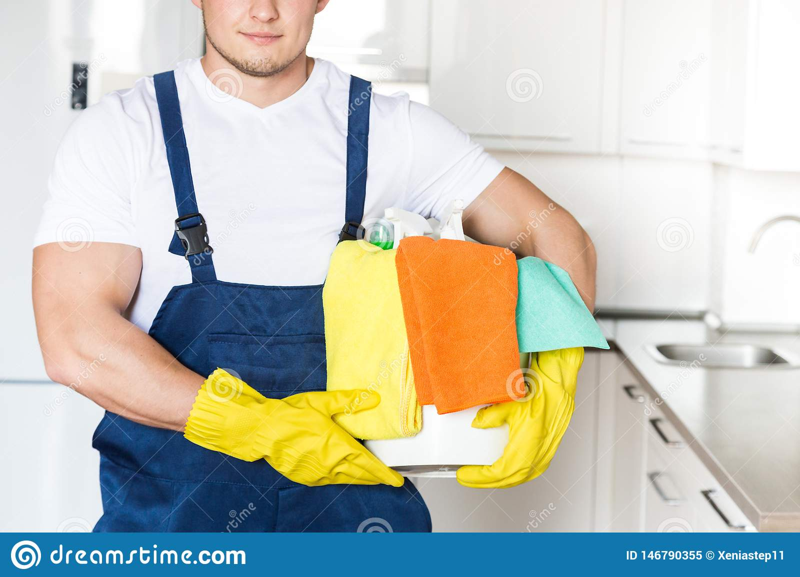 Cleaning service with professional equipment during work. professional kitchenette cleaning, sofa dry cleaning, window