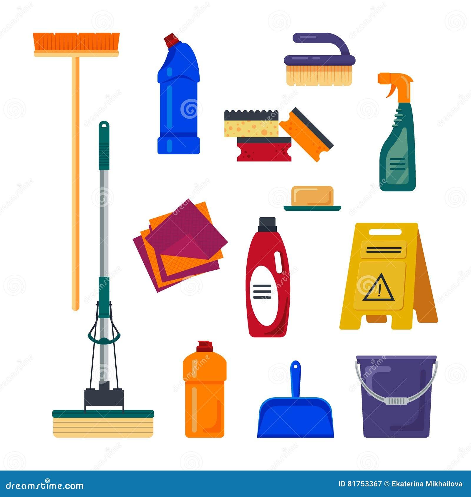 Vector cleaning set vector illustration cartoondealer for Casas de herramientas