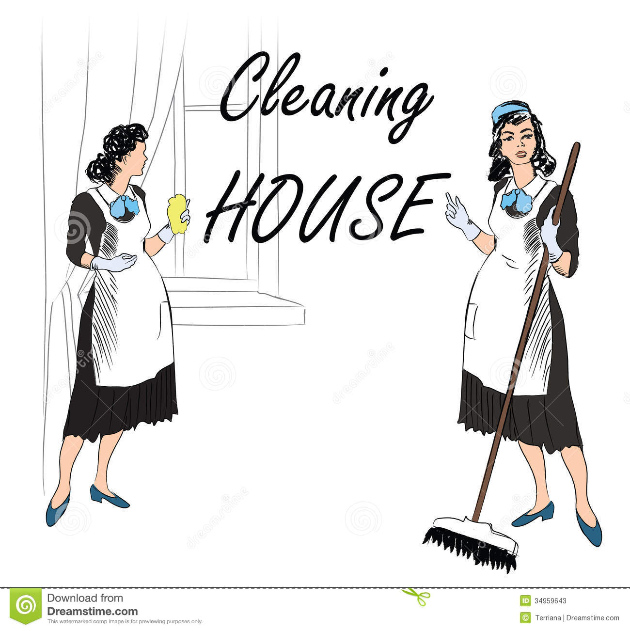 Cleaning Service Sign Retro Style Illustration Stock