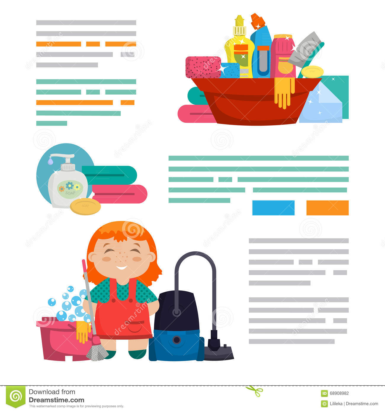 cleaning service template design brochures stock illustration cleaning service template design brochures