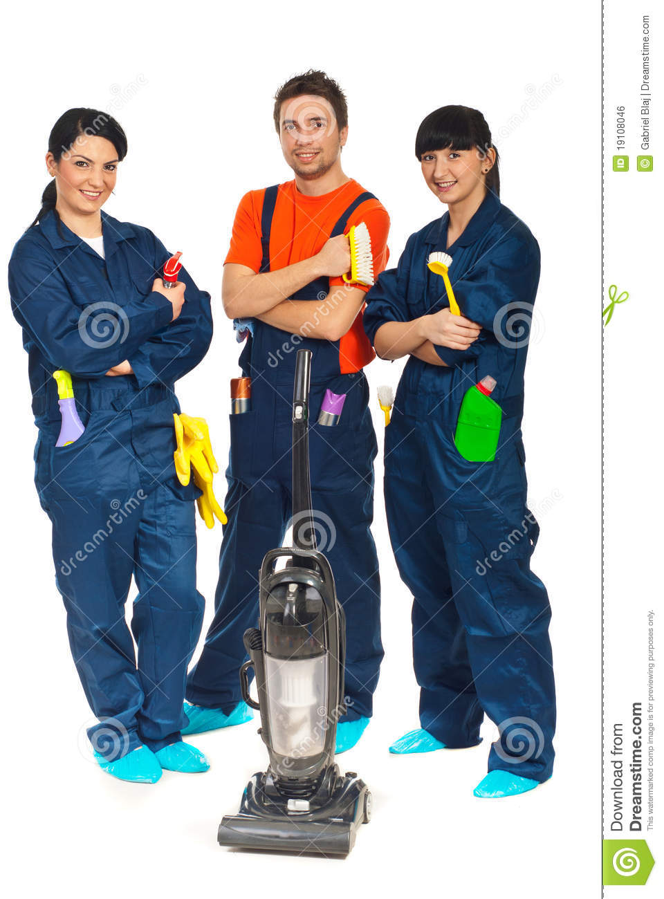 People Cleaning Services : Cleaning service workers team royalty free stock image