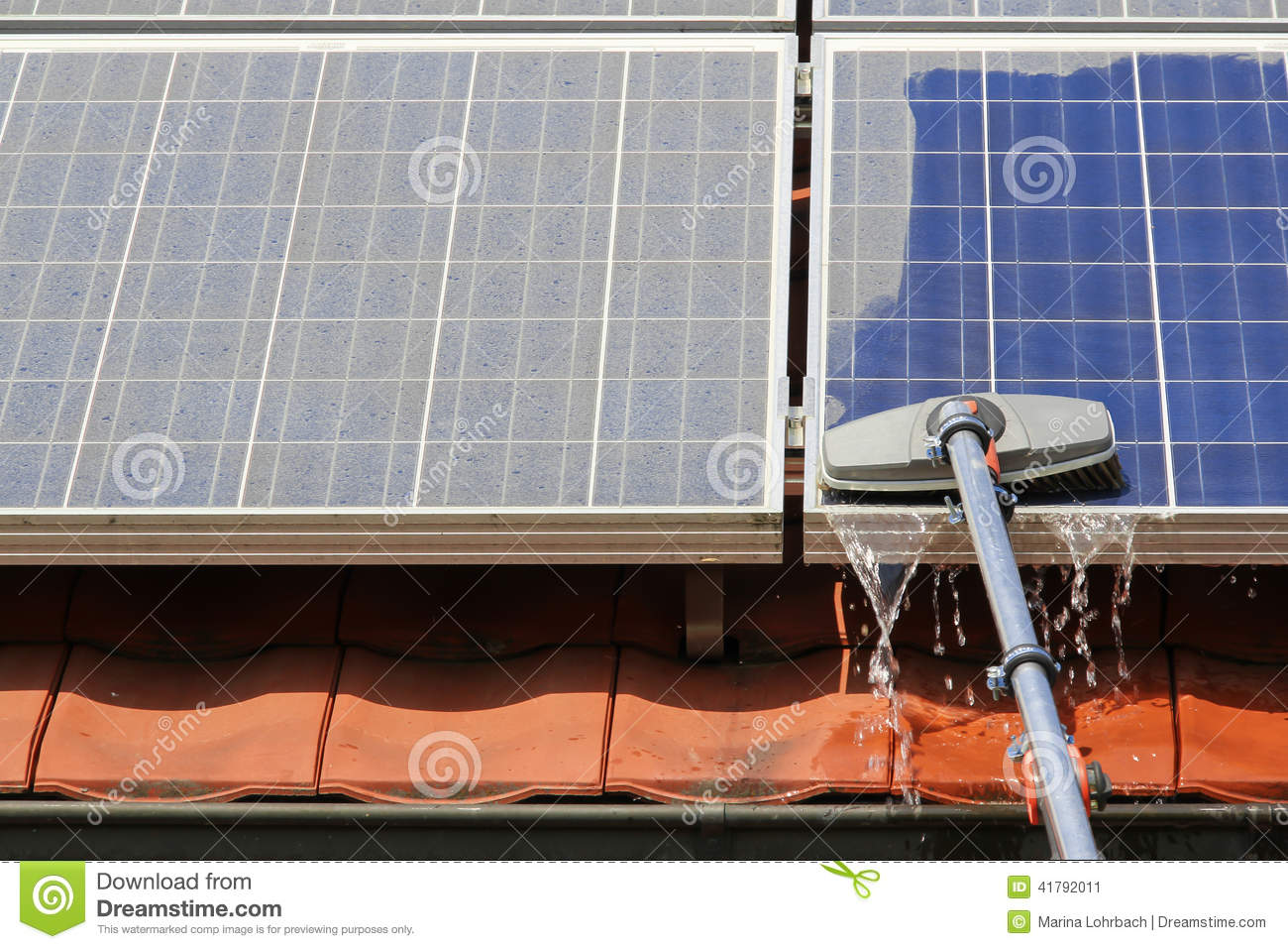 Cleaning Solar Panels Stock Photo Image 41792011