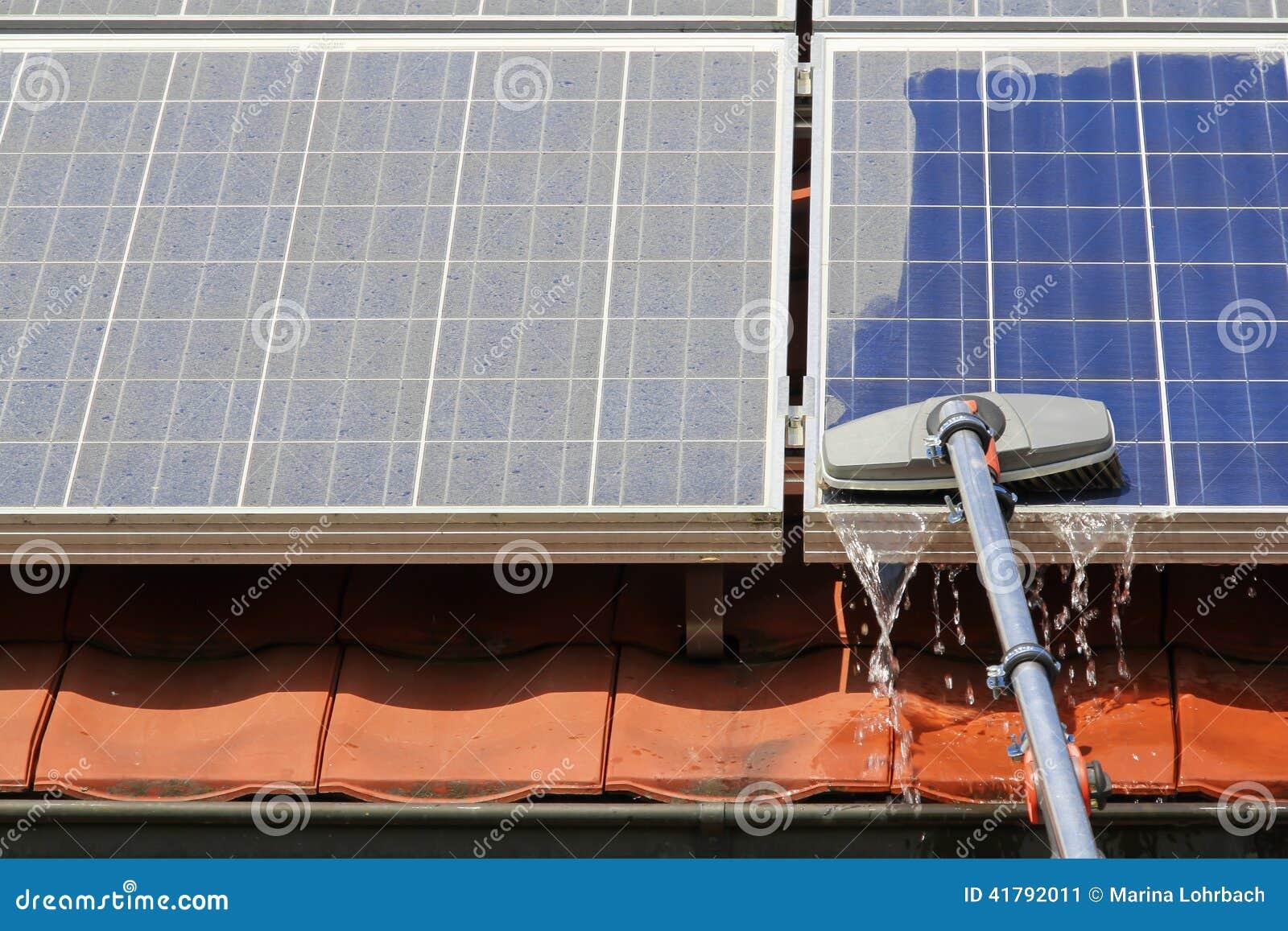 Cleaning Solar Panels Stock Photo Image 41792011