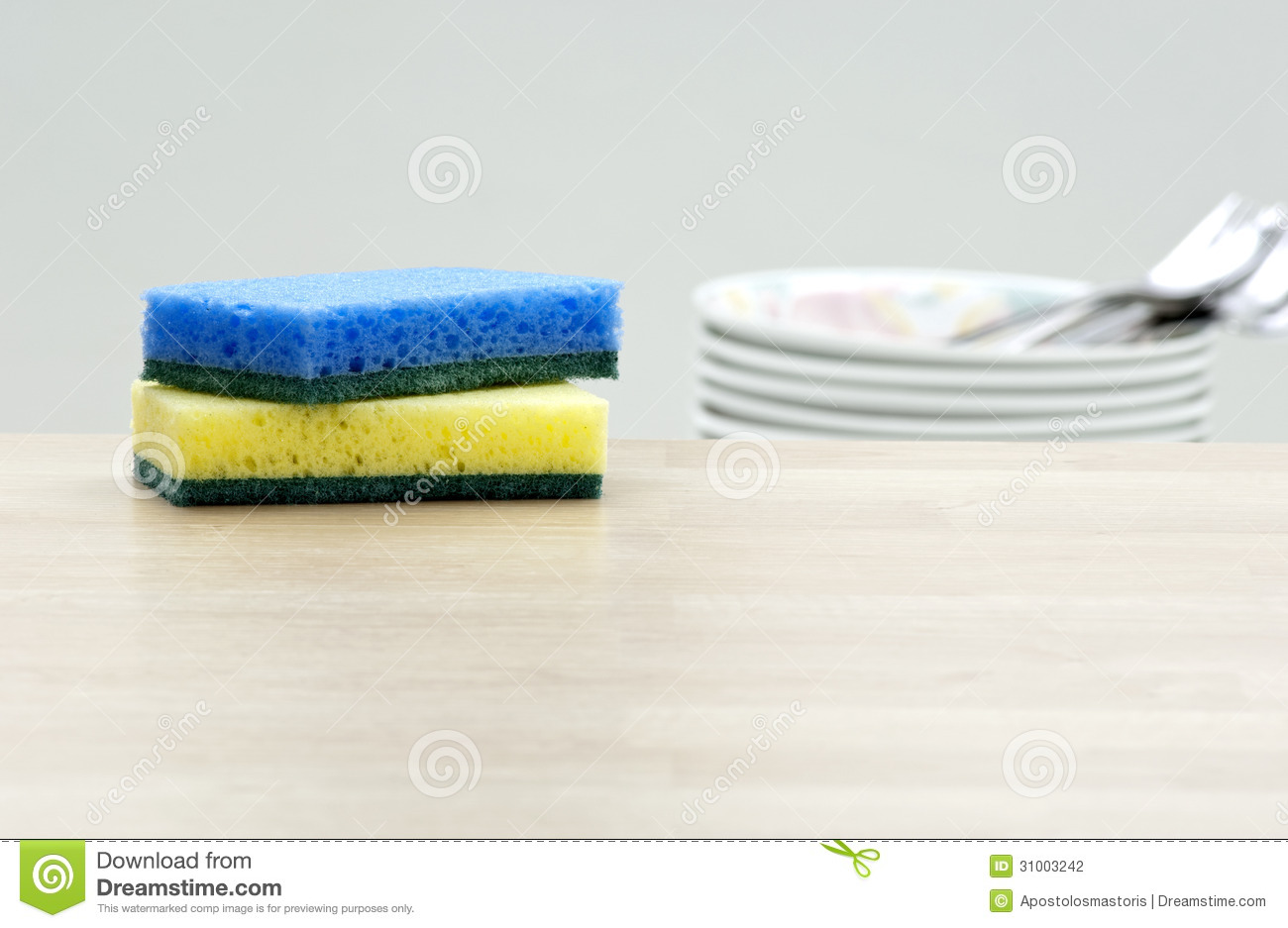 Cleaning Sponges And Dishes In A Kitchen Stock Photo - Image of ...