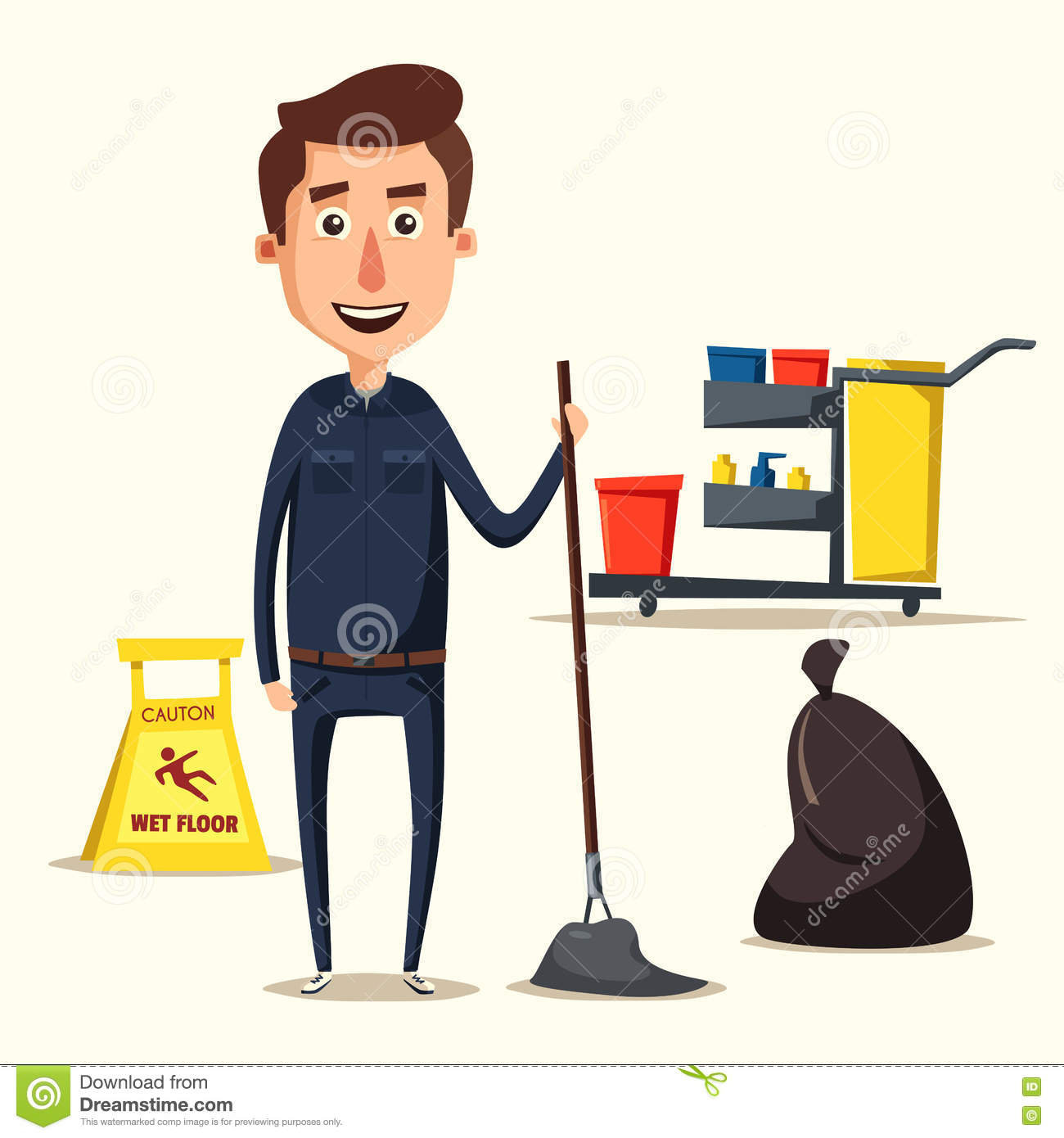 Cleaning Staff Character With Equipment Cartoon Vector
