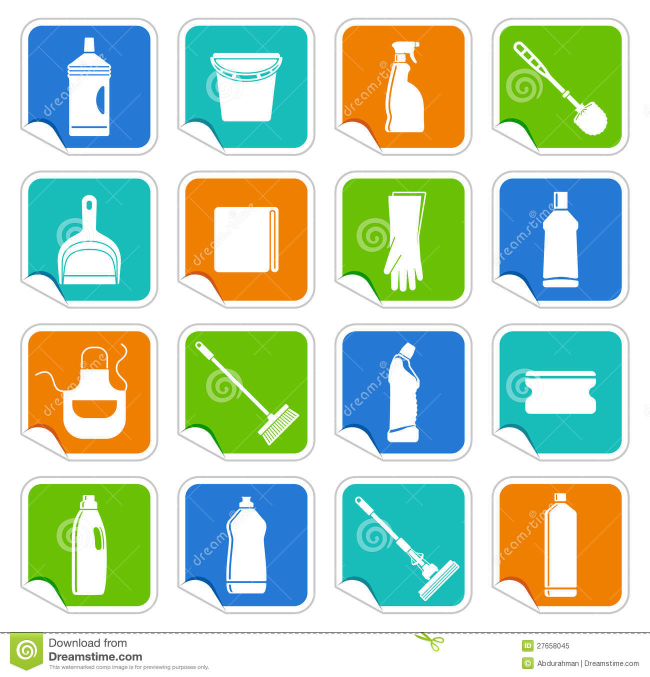 cleaning stickers stock vector  illustration of cleaning