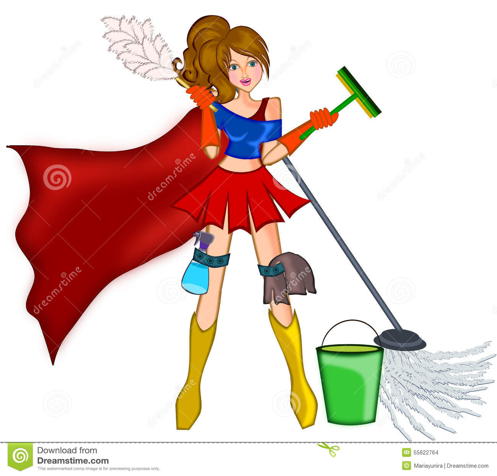 Floor Plan Designers Cleaning Super Woman Stock Illustration Image 55622764