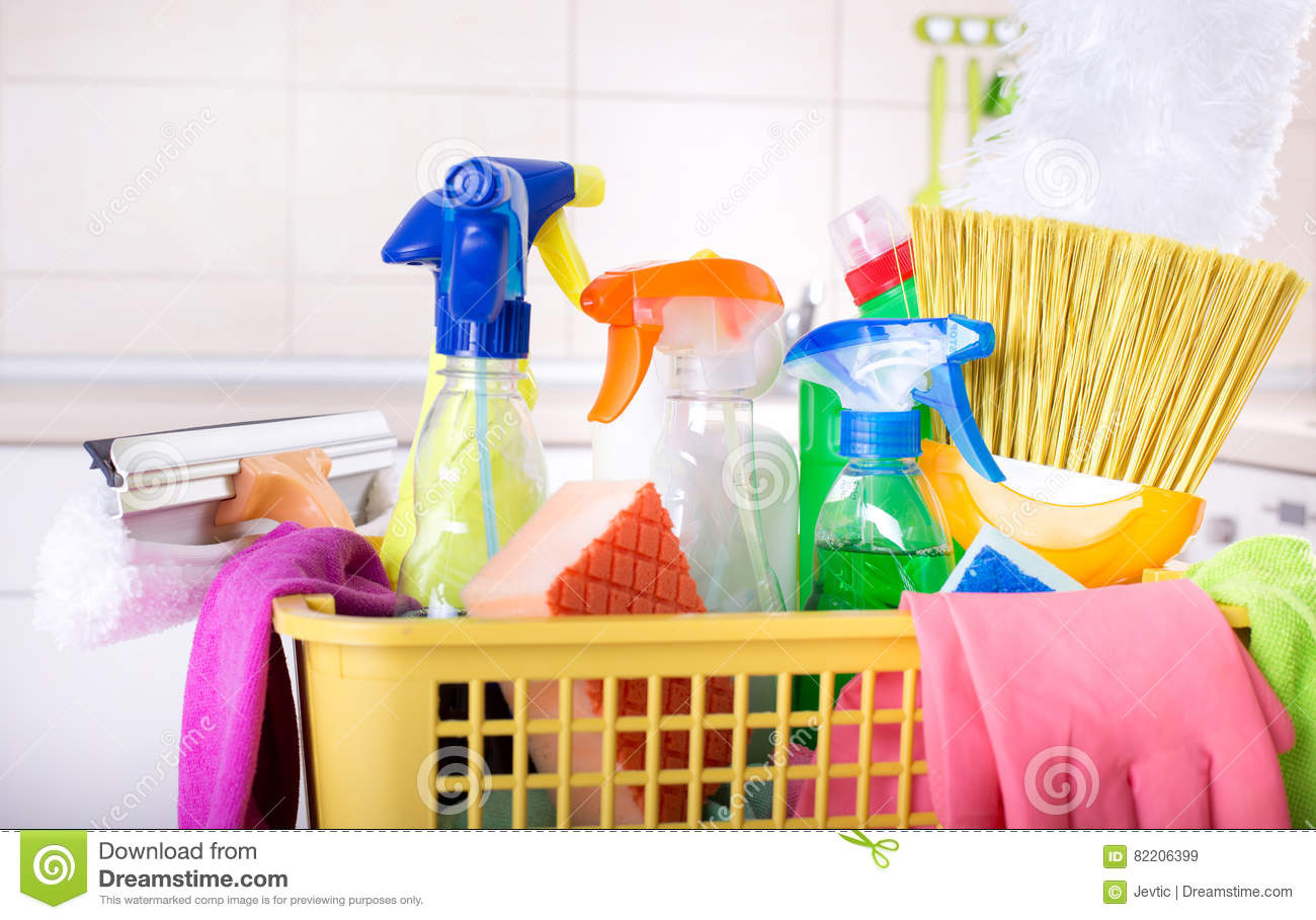 Cleaning Supplies In Basket In Kitchen Stock Image - Image of ...