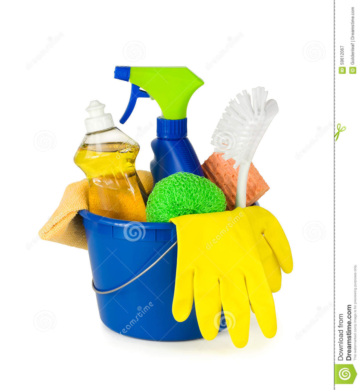 Household Supplies: Cleaning Supplies In A Bucket Stock Image