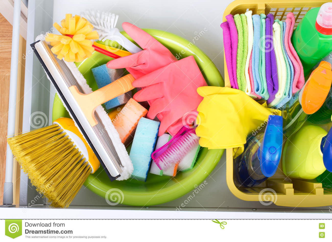 Cleaning Supplies In Drawer Stock Photo Image Of Chemical Brush