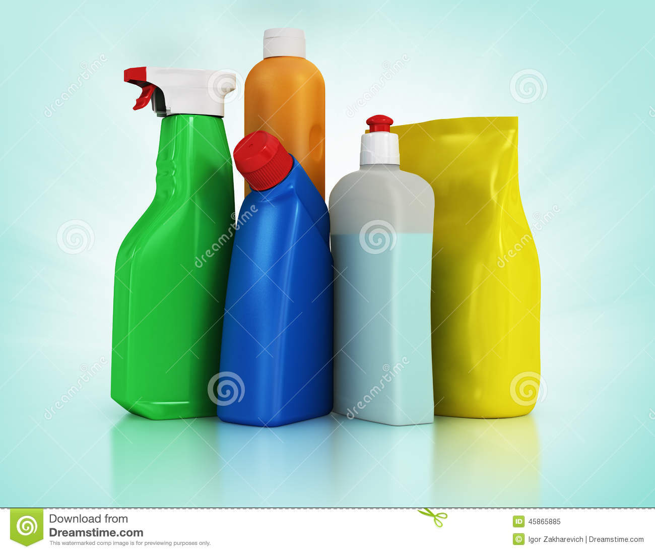 Household Supplies: Cleaning Supplies. Household Chemical Detergent Bottles