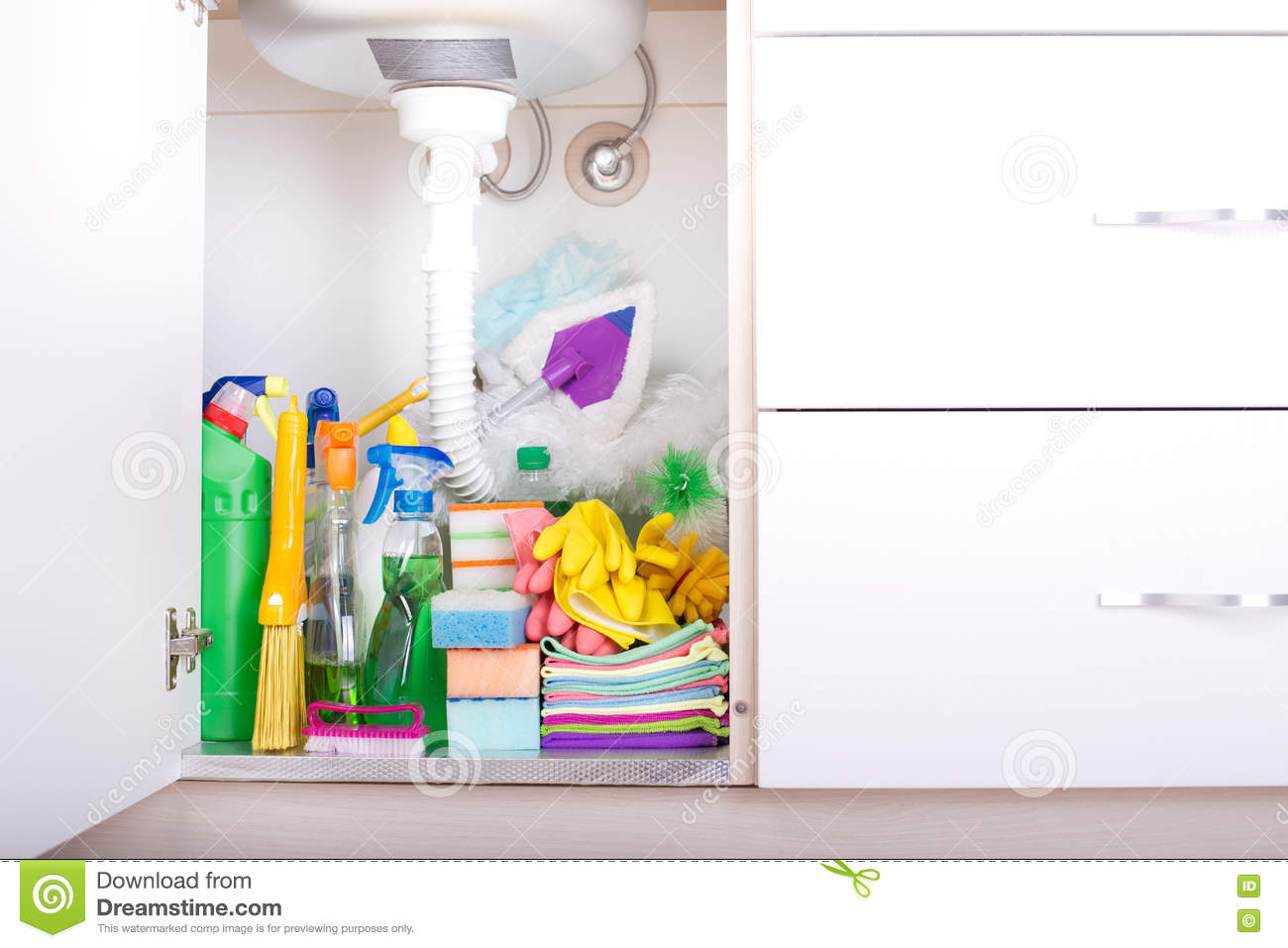 Cleaning Supplies In Kitchen Cabinet Stock Photo Image Of Object