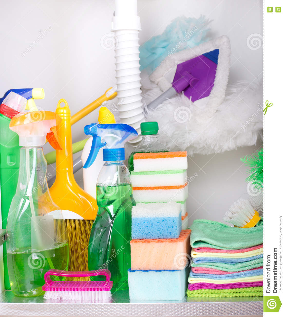Cleaning Supplies In Kitchen Cabinet Stock Image Image Of Group