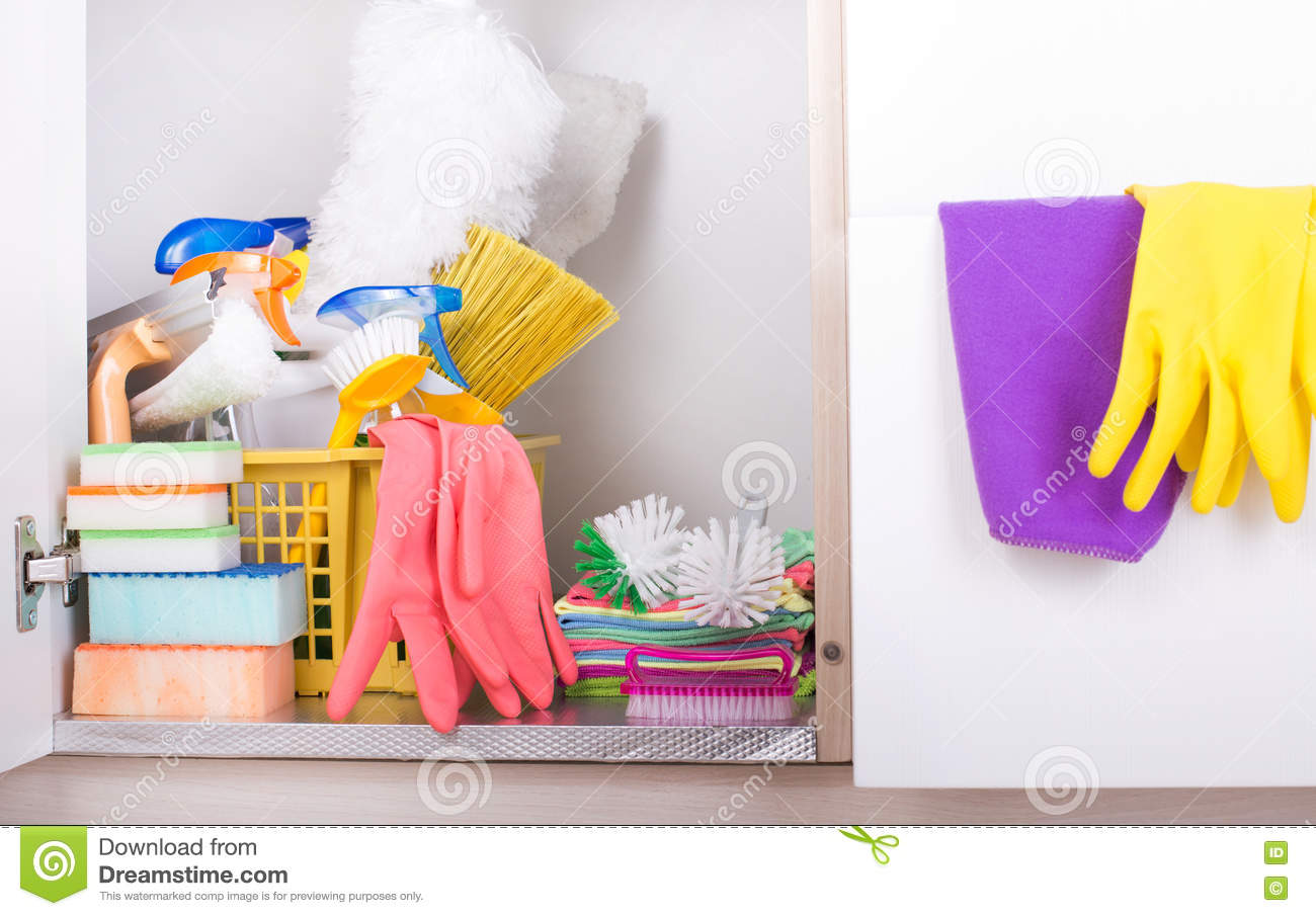 Cleaning Supplies In Pantry Stock Image Image Of Brush