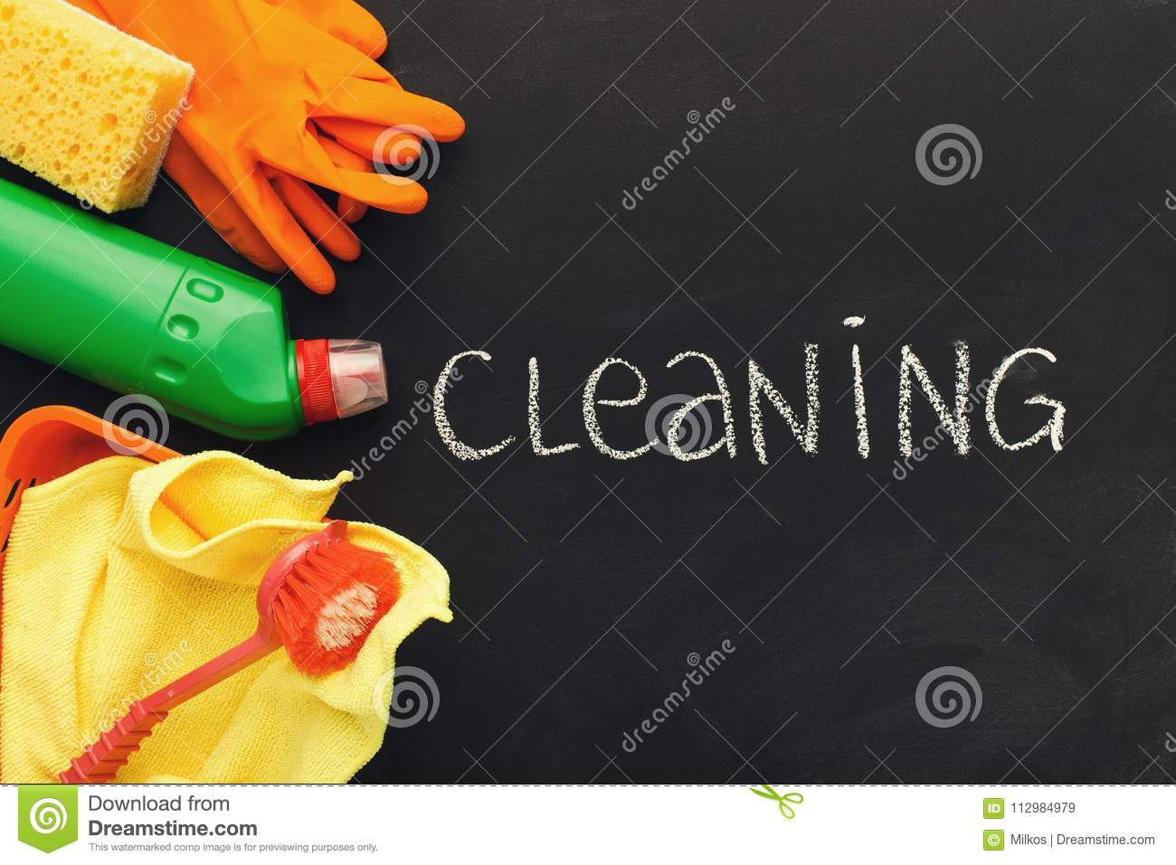 Cleaning supplies and products for home tidying up