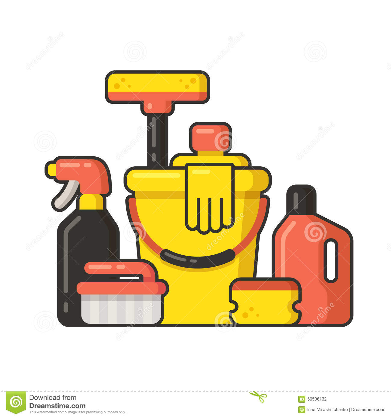 Cleaning Supplies Stock Vector - Image: 60596132