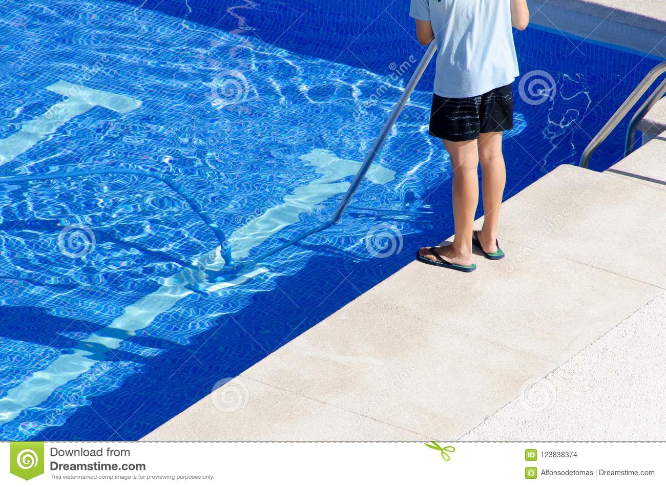 Cleaning The Swimming Pool Ground Stock Photo - Image of ...