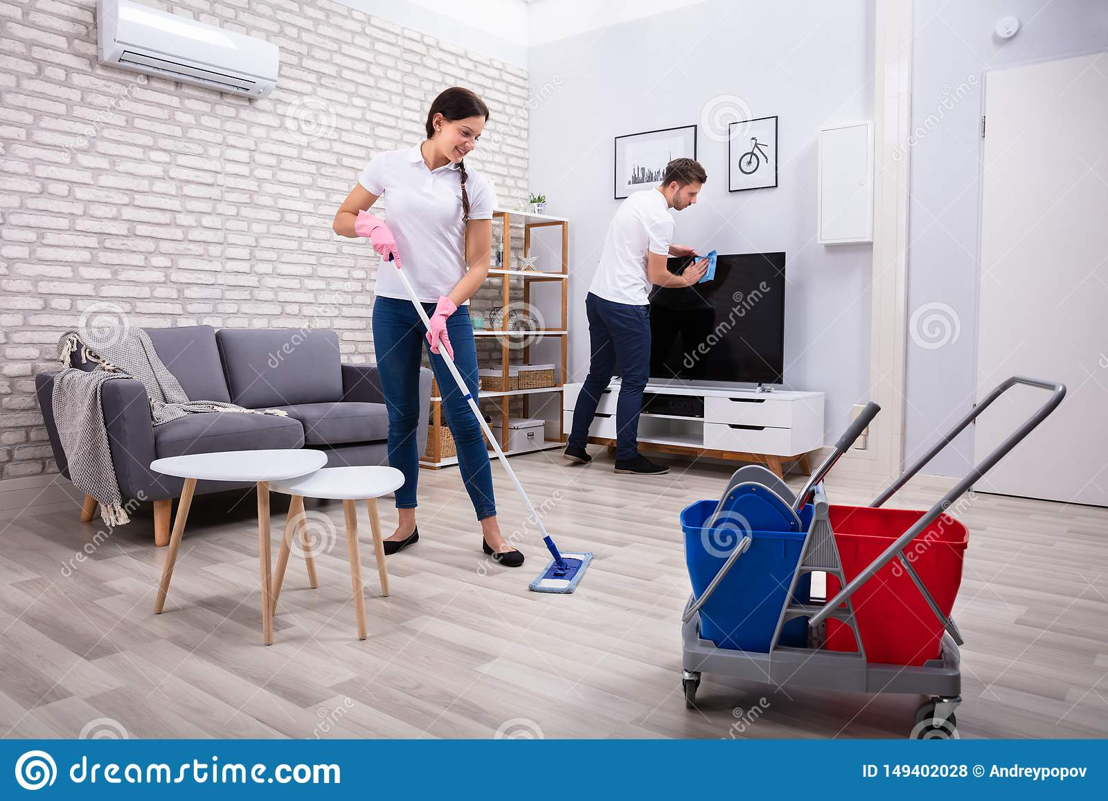 Cleaning Television And Floor
