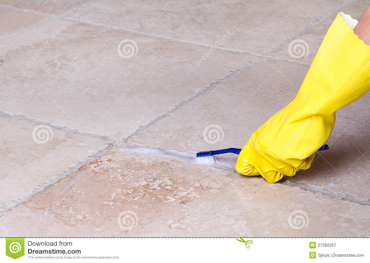 Cleaning Tile Grout With Toothbrush Stock Image - Image of bathroom ...