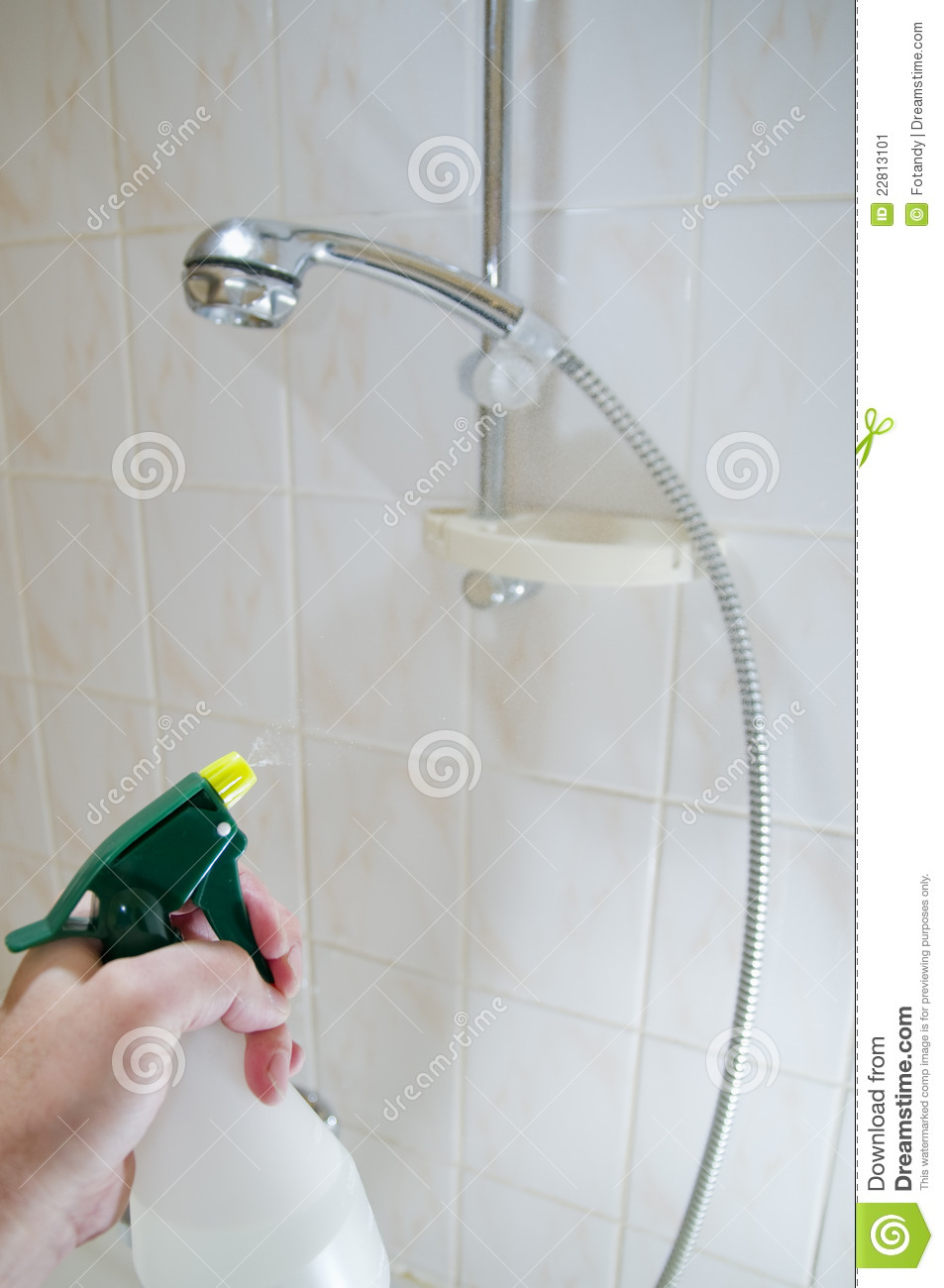 Cleaning Tile Shower Walls Stock Image Image Of Tiled