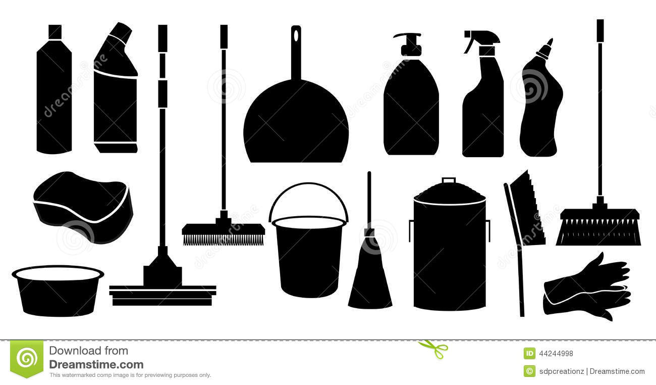 Cleaning Tool Icons Se...