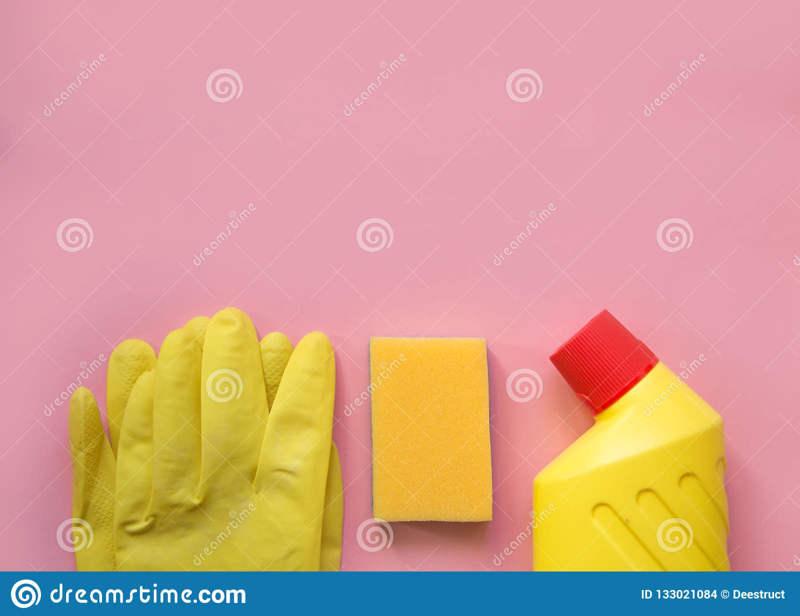 Cleaning tools. cleaning equipment in yellow and red colors.Top view with copy space