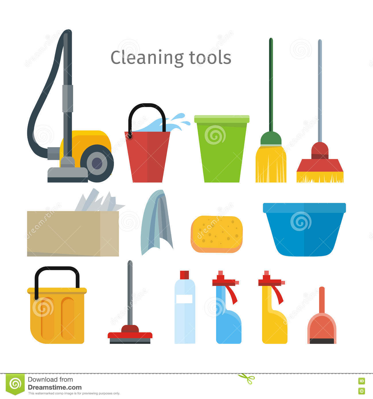 Building Cleaning Equipment : Cleaning tools isolated house washing equipment stock