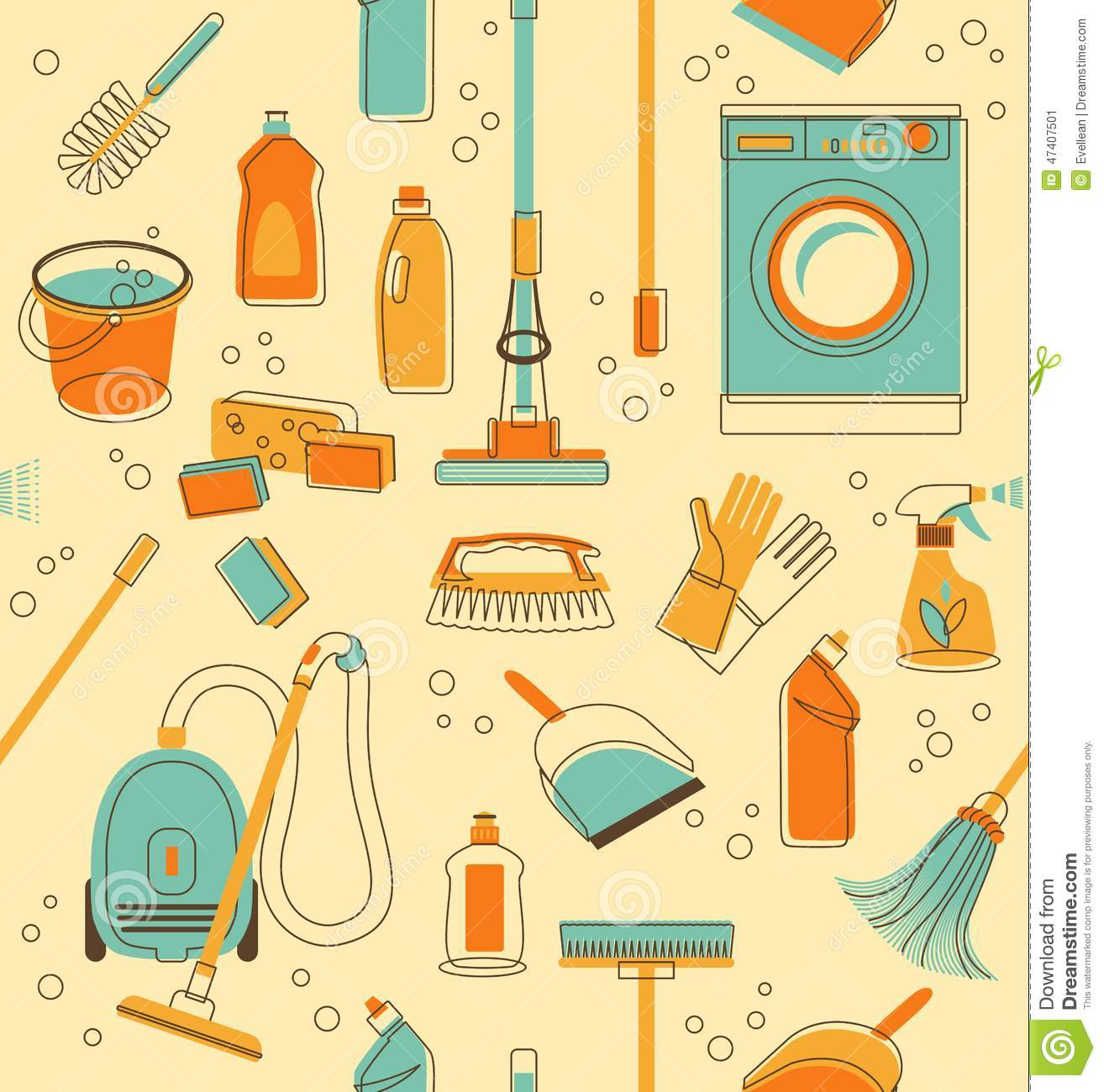 House Cleaning Tools Seamless Pattern Vector Illustration