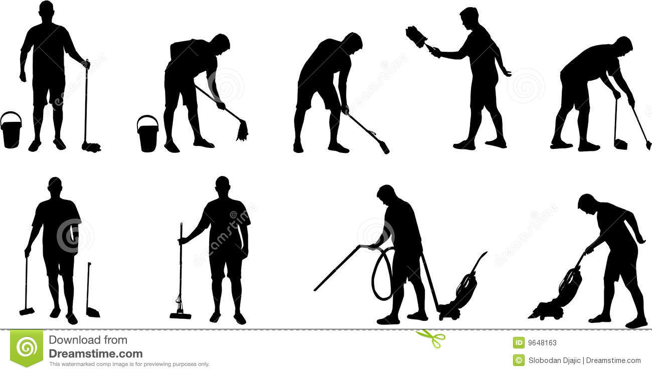 Cleaning And Vacuuming Silhouettes Stock Photos Image
