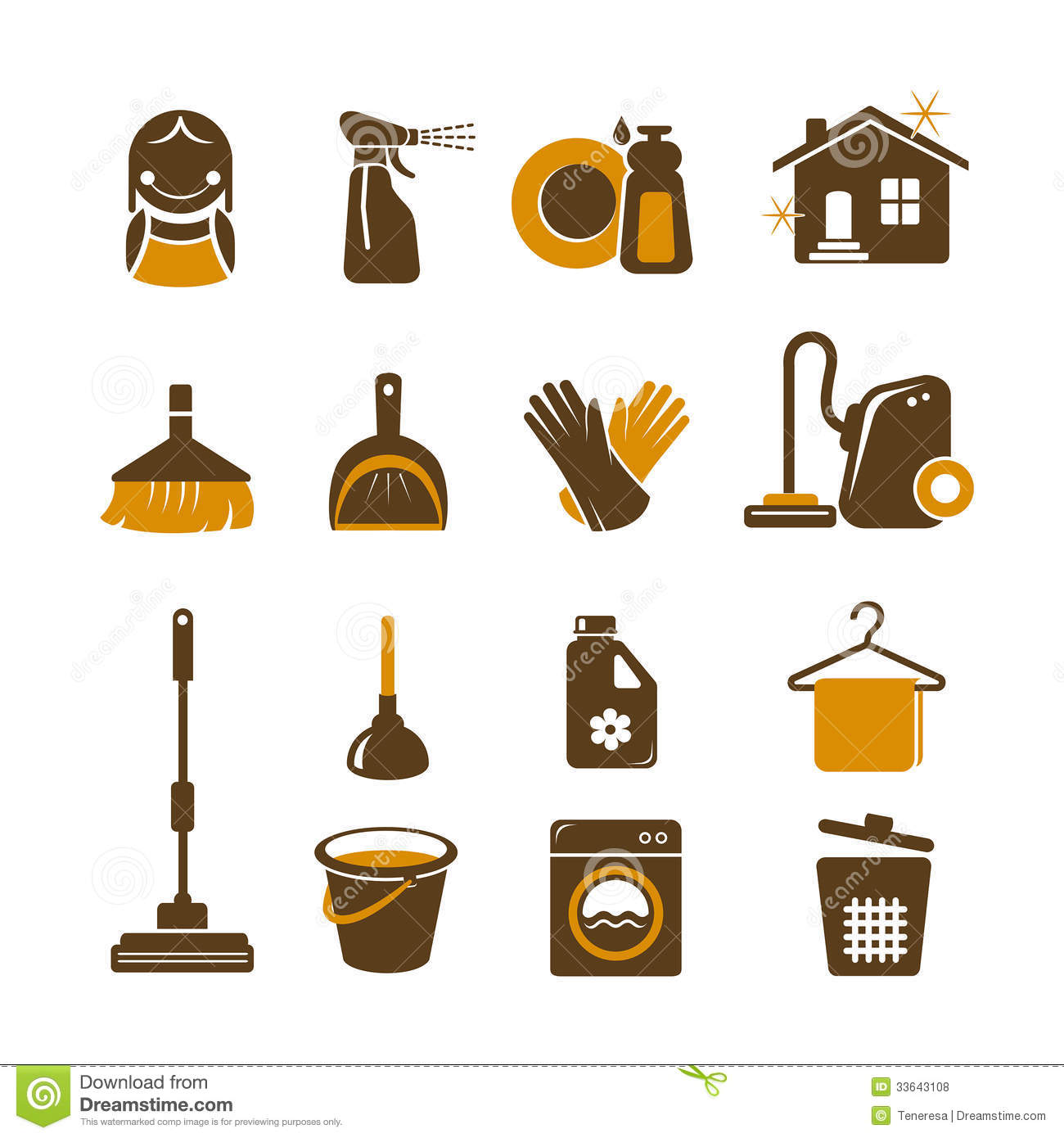 Household Cleaning Equipment Cleaning Vector Icons ...