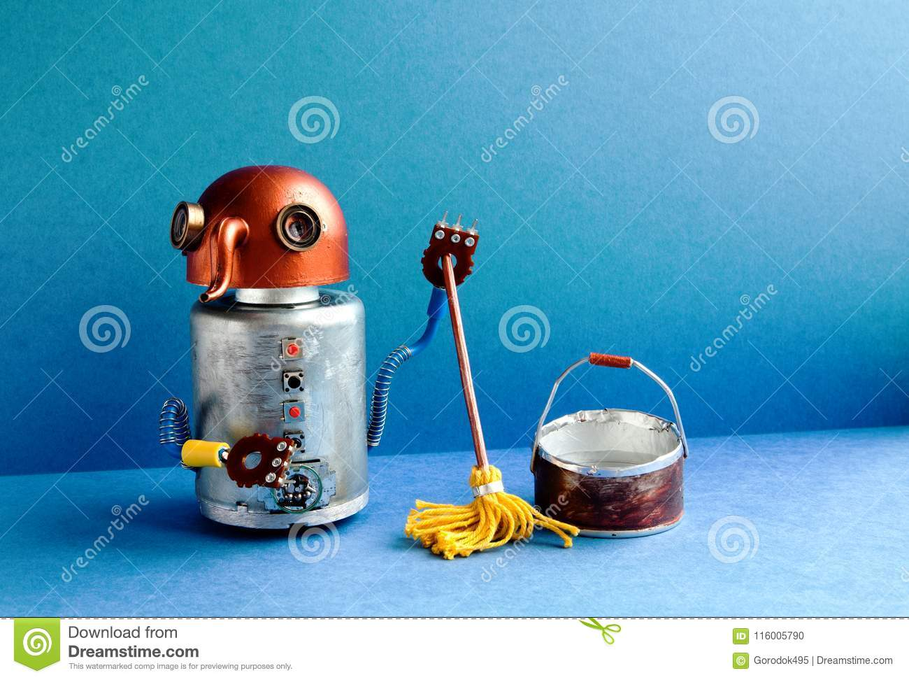 Cleaning Washing Room Service Concept  Funny Robot Janitor