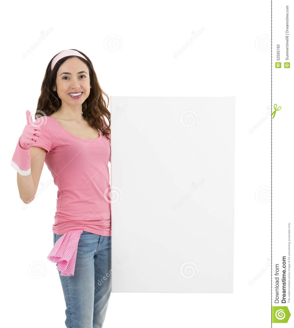 cleaning w an advertising poster and giving thumbs up cleaning w an advertising poster and giving thumbs up